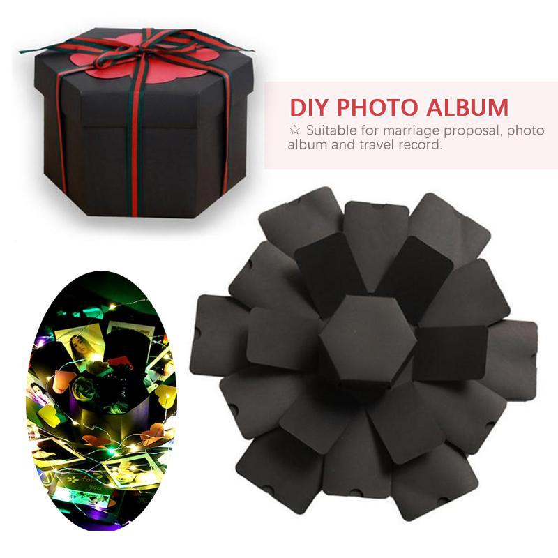 Hexagon Surprise Explosion Box DIY Handmade Scrapbook Photo Wedding Gift Box Wedding Engagement Birthday Valentine´s Day