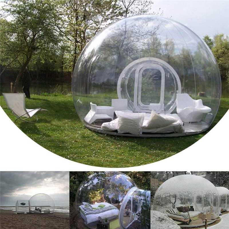 Im Freien einzelne Tunnel Aufblasbare Blase Zelt Family Camping Hinterhof Transparent Zelt Blower Aufblasbare Blase 2 Personen