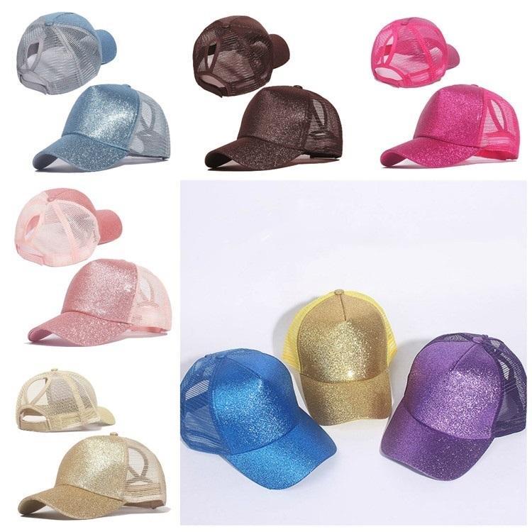 la moda esmerilado con malla gorra de béisbol del brillo Cola de caballo casquillo del camionero gorra de plato Ball Caps chico y chica Casual color 14 T2C5251