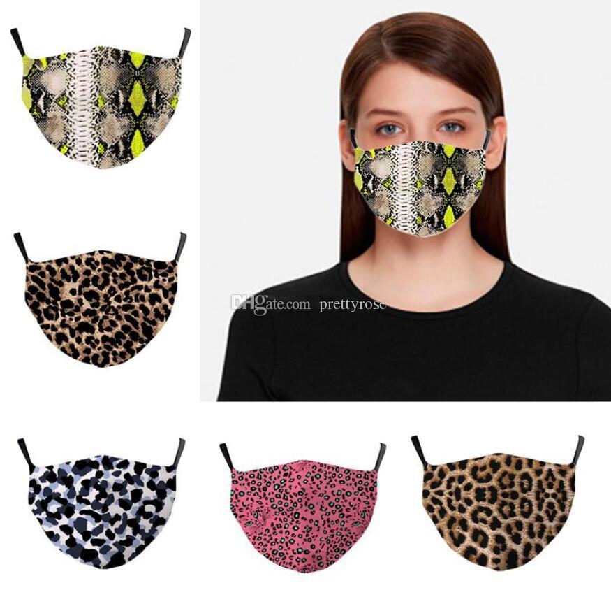 Avrupa Amerikan Popüler 3D Leopard Baskı Moda Pamuk Maskeler Kadınlar Yüz Kapak Toz geçirmez Nefes Yıkanabilir Yüz çok kullanımlık maske