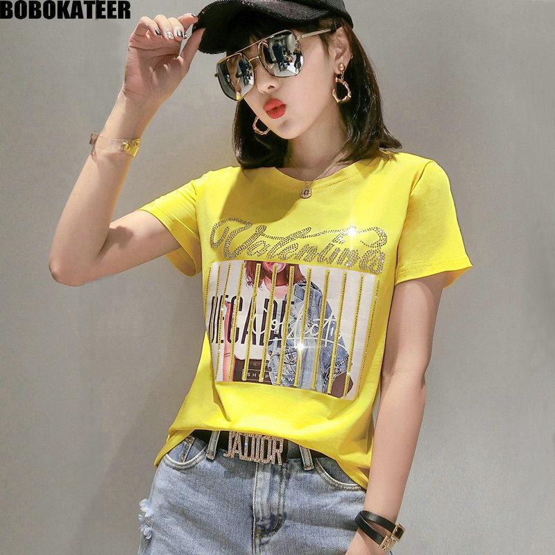 T camisa de verano ropa de las mujeres de la vendimia amarillo Corea de manga corta impresión camiseta Mujer Tops Casual camiseta blanca Moda 2020 MX200721