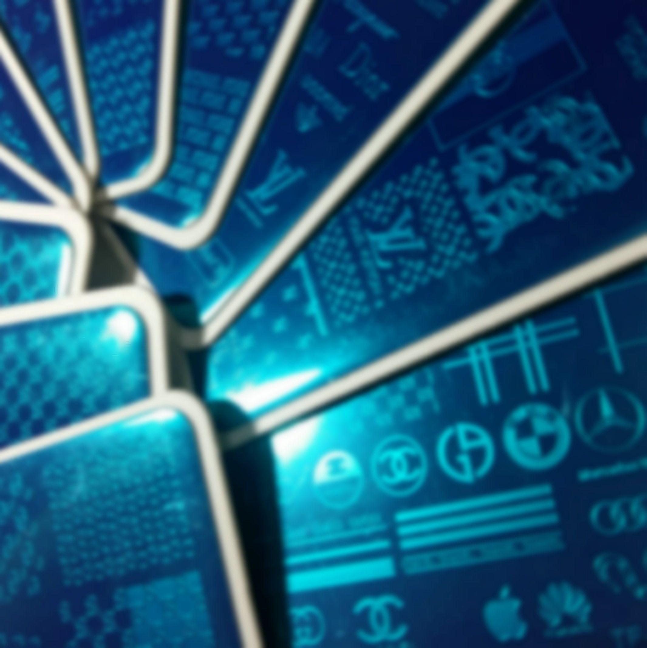 11pcs Big LO GO Brand Design Nail Art Stamping Plaque timbre français Image pleine métal Stencil transfert Modèle d'impression polonaise avec feuille de plastique