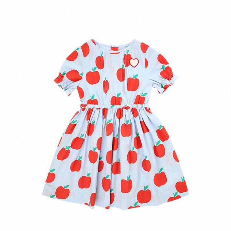 Kid Платья 2020 Brand New Summer Girls Cute Red Apple Печать с коротким рукавом платье принцессы Детские ребенка Мода Одежда 5fUP #