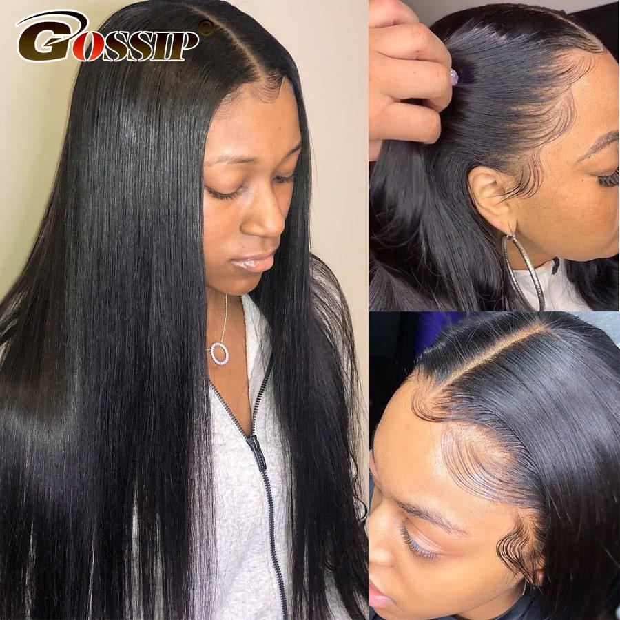 Glueless Hetero 360 Lace frontal peruca perucas de cabelo brasileira Cabelo Fofoca peruca dianteira do laço Remy Pré arrancado com bebê Mulheres Preto Para