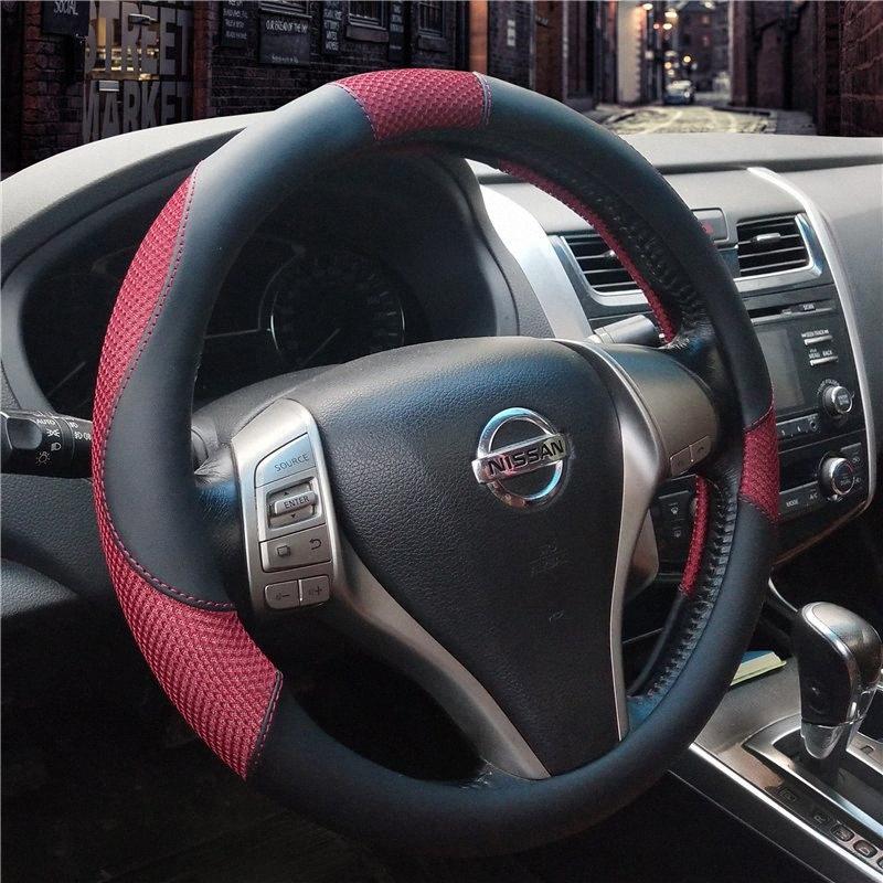 KKYSYELVA Car Interior Accessories Black Auto Sports Steering Wheel Cover Leather 38cm Vehicle Truch Steering Covers Blackhawks Steeri 9lJo#