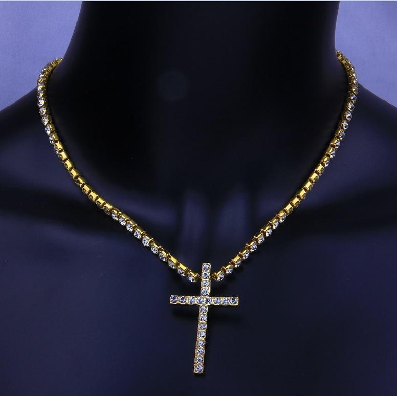 Yeni Buzlu Out Çapraz Salkım Kübik Zirkon Tenis Zincirler Erkek Hip Hop Takı Kadınlar Moda Altın Gümüş cz kolye Parti gerdanlık kolye Hediye