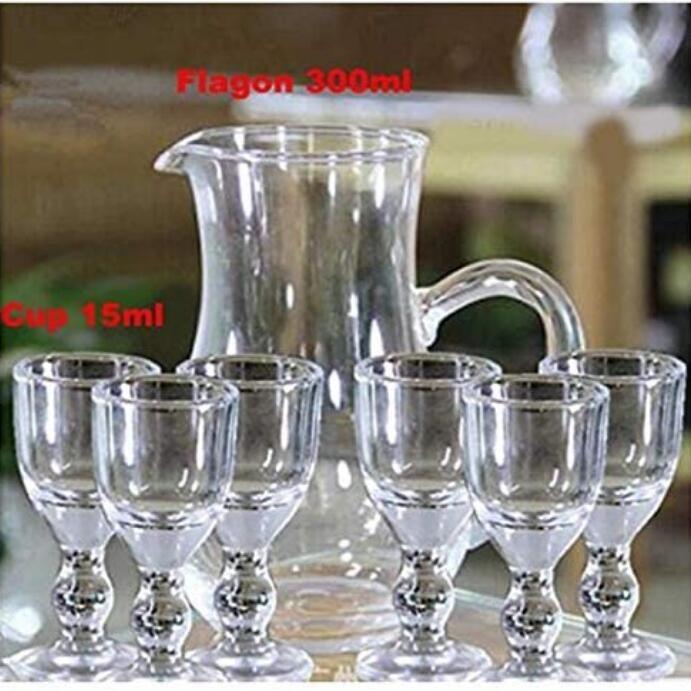 صغيرة مصغرة 15ML فريد البسيطة النبيذ أطلق عليه الرصاص زجاج ساكي أطلق عليه الرصاص زجاج مجموعة الأرواح كأس مسح الكحول البسيطة الزجاج مع الجذعية الصغيرة 7PCS الشرب / مجموعة