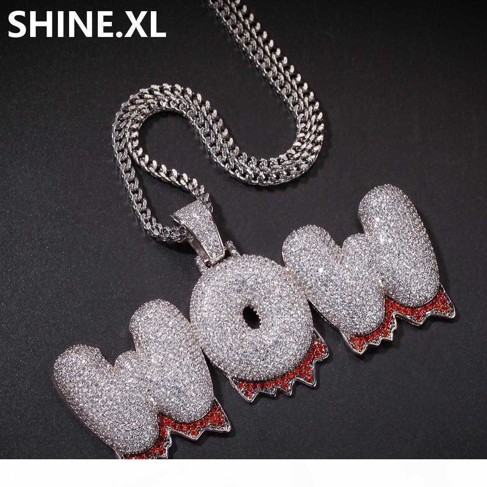 Hip Hop Пользовательские Имя Bubble Письмо Золото Серебро Цвет покрыло Новый стиль Iced Out Micro Асфальтовая CZ камень ожерелье для мужчин женщин