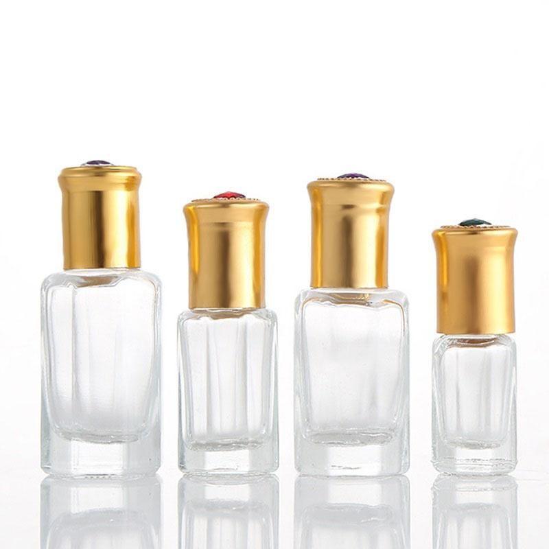 Verre bouteille de parfum huile essentielle rouleau octogonal en verre sur des bouteilles 3 ml 6 ml 9ml 12ml taille de bouteille Voyage distributeur d'huile essentielle DHC217