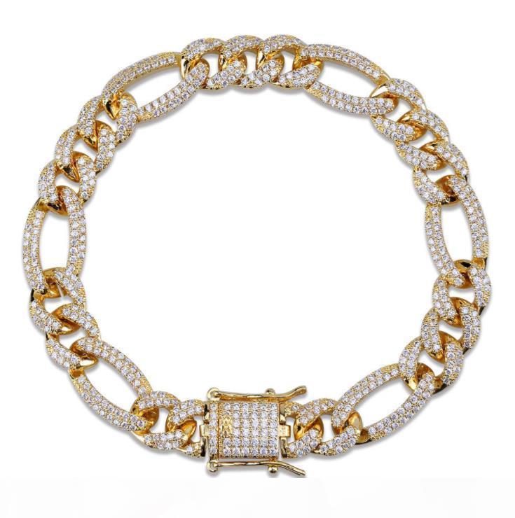 E Miami cubana Bracelet For Men Com New europeus e americanos jóias Fecho 2,020 ouro banhado Hip Hop Corrente Com Zircon