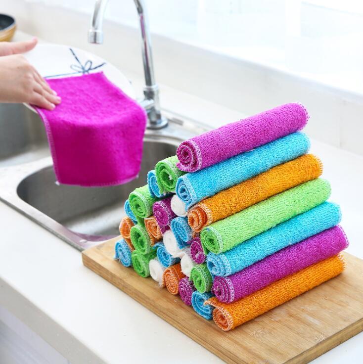 주방 매직 청소 천 대나무 섬유 다목적 비 스틱 기름 수건 홈 청소 가젯 가정용 도구 주방 액세서리 DHD210