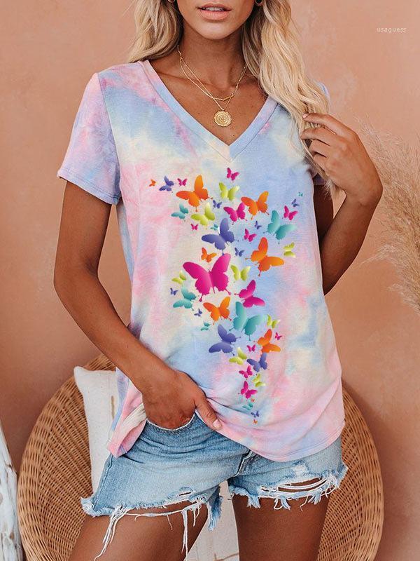 T-shirt Lega Le Voti VIOLA CANDY DYE CANDY T-SHIRTS DONNA ESTATE FASHION DONNA COLLO CON COLORI FARFALLA TOP BIJV