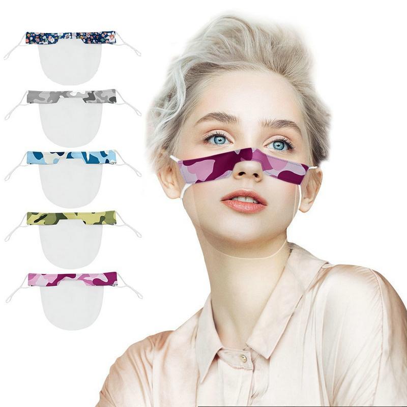 2020 Nuova maschera labbro maschera PVC mimetica quadri floreali maschere di protezione esterno adulto stampato copertura bocca maschera trasparente