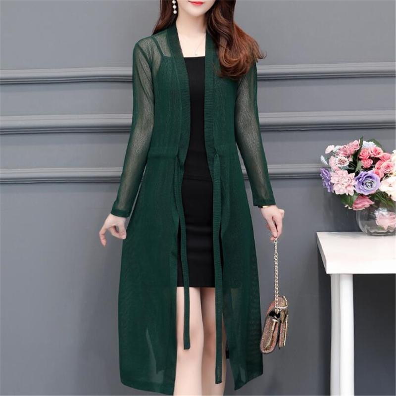 2020 Taille Plus 5XL Nouveau printemps été mince femmes cardigan 8 couleurs crème solaire tricotés Vêtements pour femmes Manteau L-5XL PZ3317
