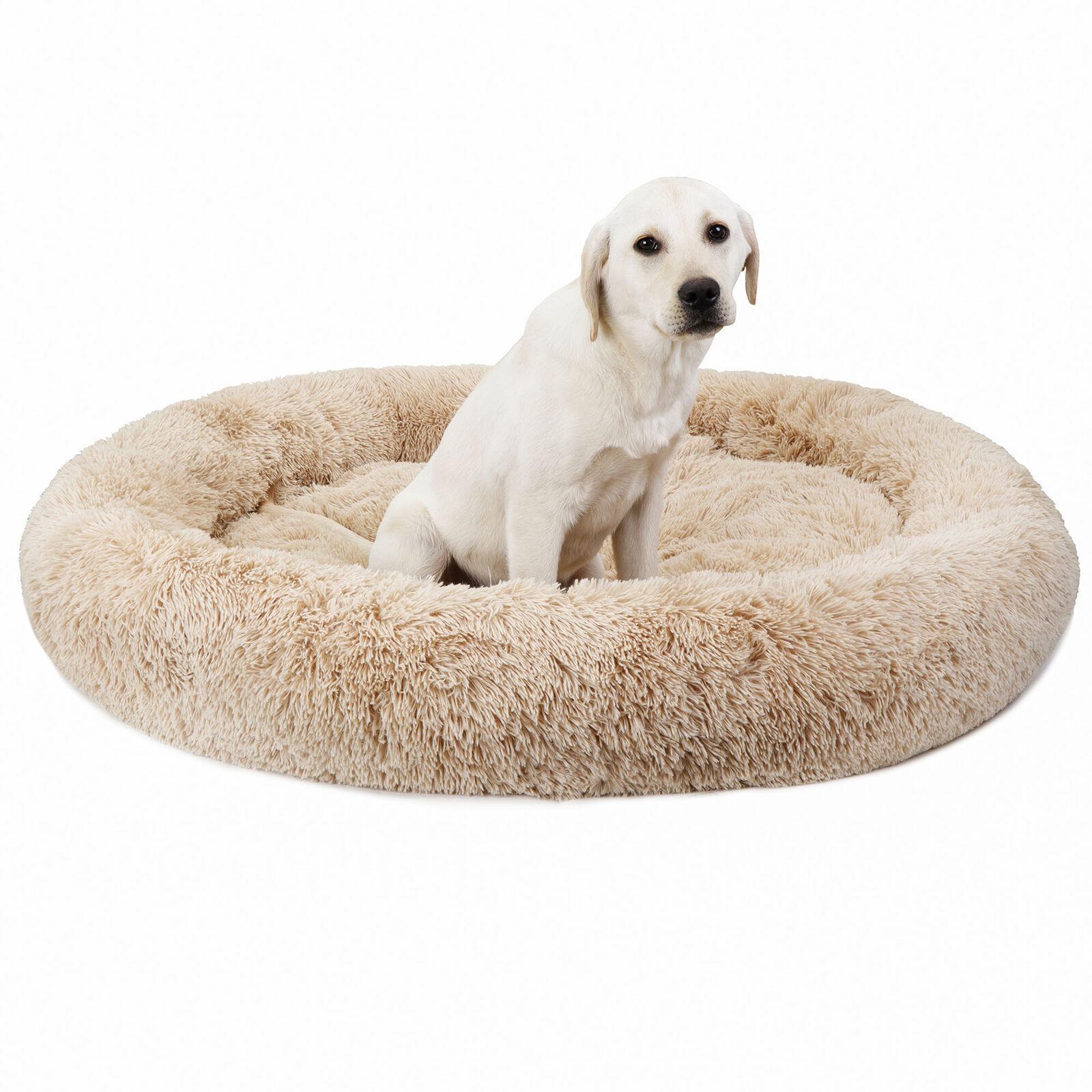 "Shaggy Fluffy 45""x45"" Pet Bed Dog Cat Donut Cuddler Cushion Mats Machine"