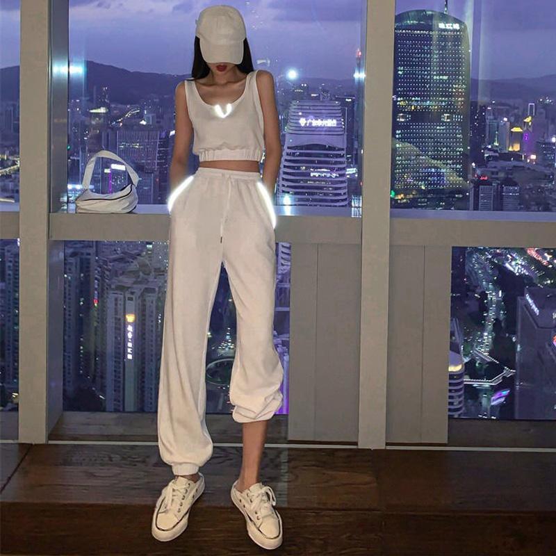 Mujeres Conjuntos Pantalones y Top elegante reflectante de 2 pedazos mujeres trajes blancos de Cultivos Top + Pants Streetwear Joggers de ropa