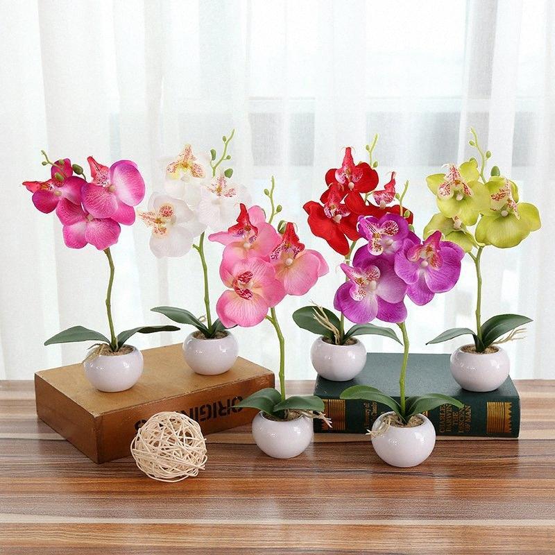 Ev Düğün Dekorasyon ile Vazo SYNQ için # Yapay Çiçekler Güve Orkide Kelebek Orkide sahte çiçek simülasyon Kelebek