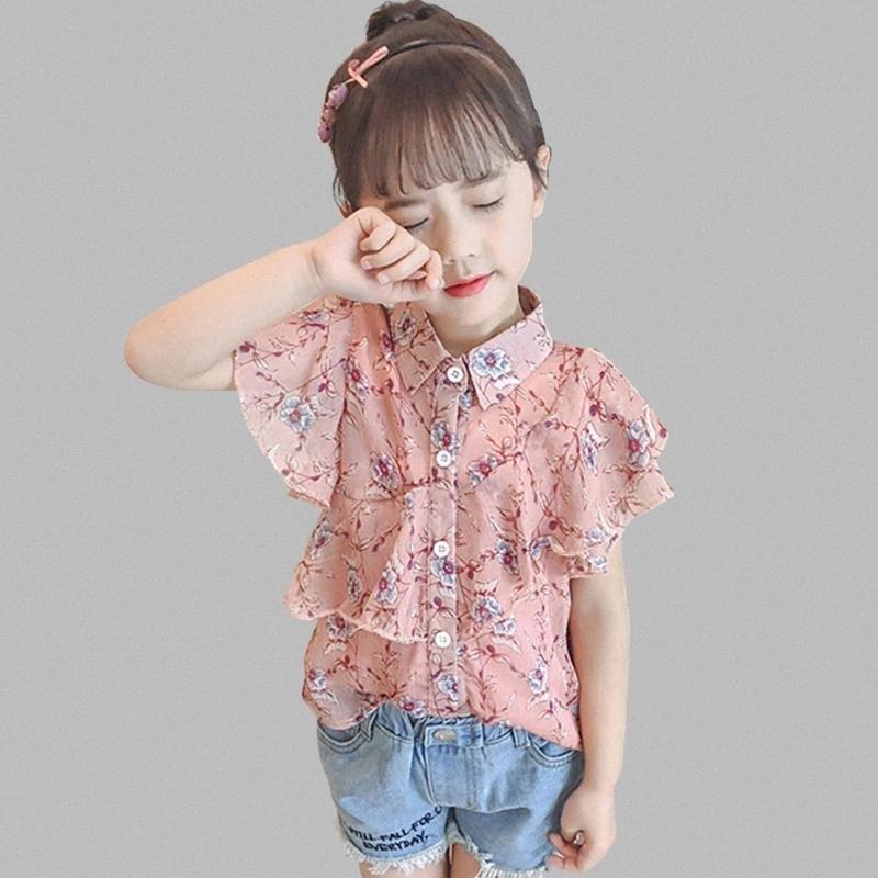 Blusas para chicas florales de las muchachas Turn Down cuello camisa de los niños para las muchachas solo pecho ropa de la escuela Jvwt #
