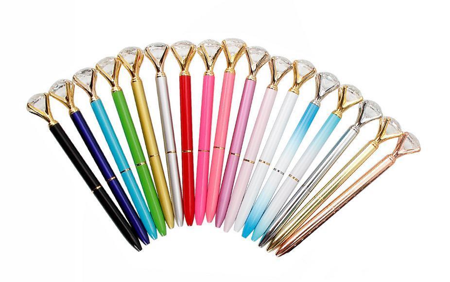 2018 Cristal stylos à bille Ballpen mode multi couleurs gros diamant papeterie école stylos à bille Bureau écriture Nouveaux cadeaux Fournitures