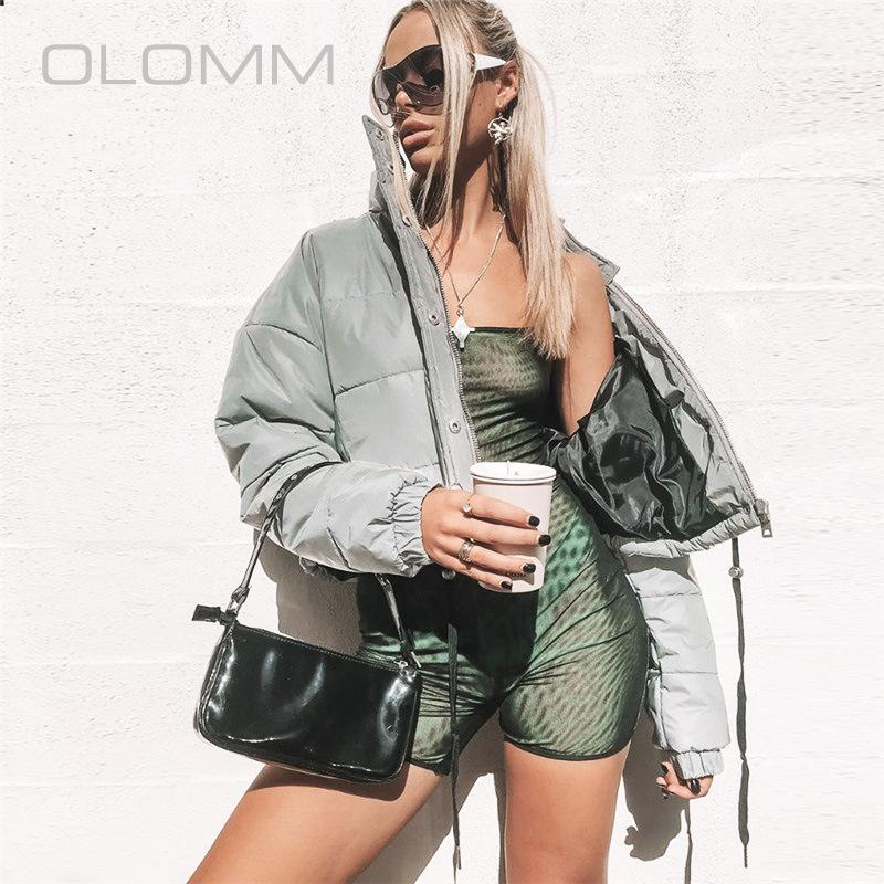L'autunno e l'inverno Super Fuoco Il nuovo modo raffredda modelle luminoso Breve Spesso riflettente cotone Cappotto popolari di temperamento delle donne