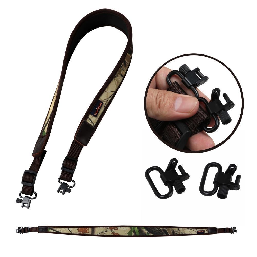 Tourbon fusil de chasse fusil de chasse Sling tactique Carry épaule Sangle Camo Ceinture caoutchoutée antidérapante w / Emerillons Accessoires Gun (1 unité)
