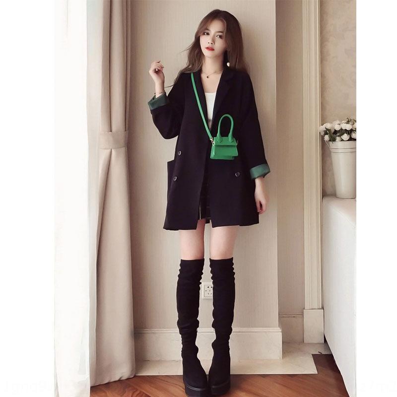 шик ранняя осень пальто coatcoat новый осенний костюм Корейский стиль женщин свободные модули черный случайный маленький костюм