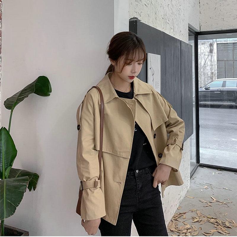 2020 Multelli alla moda CasaCos Khaki Short Gabardina Mujer Primavera-Autunno Autunno Ropa Coreana Offcie Lady Causal Giabonda a vento