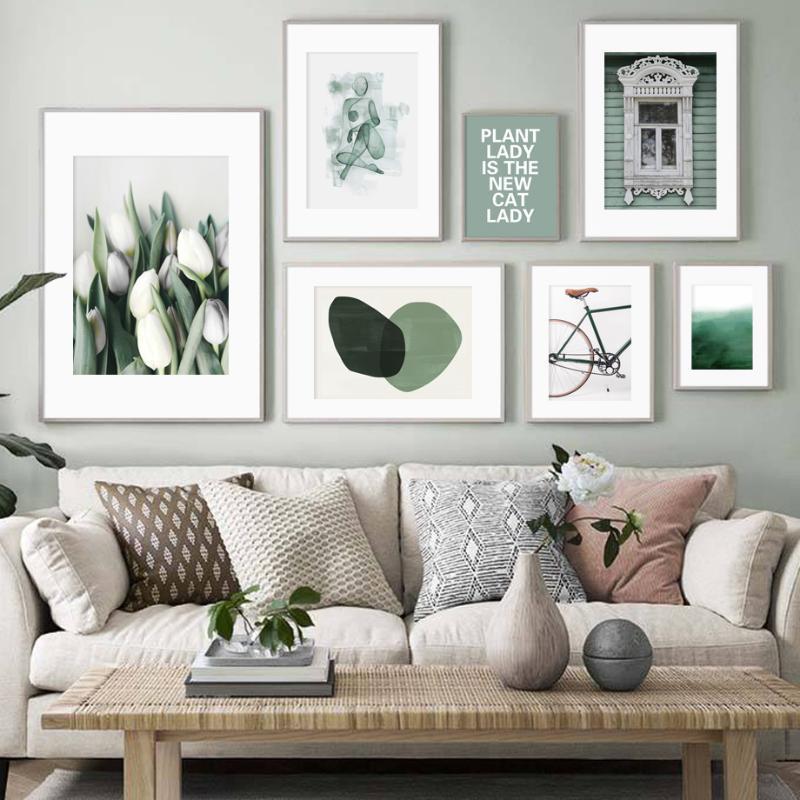 Lily Nature abstraite géométrique vert mur d'art de toile Peinture Affiches nordique et Prints Wall Art Photos For Living Room Decor