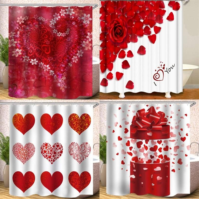 Rideau de douche 180x180cm Rideaux de bain d'occlusion imperméable à l'eau Love Pétals Rose Pétales Polyester Impression numérique Livraison Gratuite 26hs B2