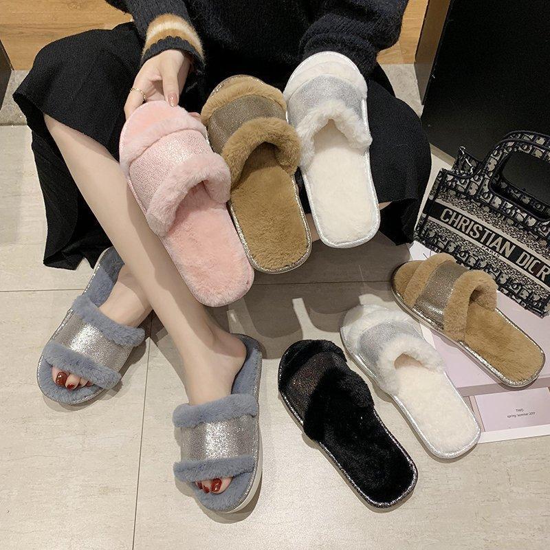 Femmes Fluffy hiver Sandal Croix en peluche ouvert Toe Sandal souple Chaussures plates chaud fausse fourrure Slipper Accueil Femme Chaussures 2020 Nouveau pas cher
