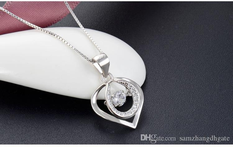 Mixed order top quality women's S925 sterling silver CZ pendants for necklaces silver CZ necklace heart CZ pendant costume jewelry DDS1