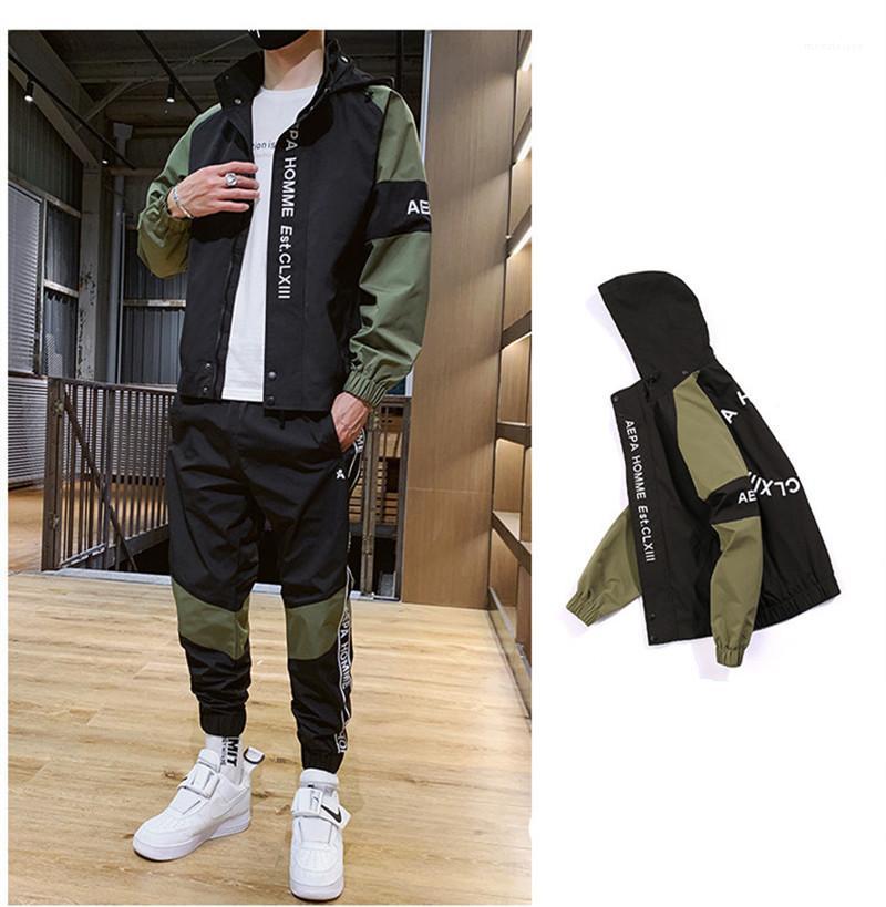 Mode Lettre Broderie Street Sports Sets de Styles Printemps Automne Vêtements décontractés Hommes Survêtements Avec