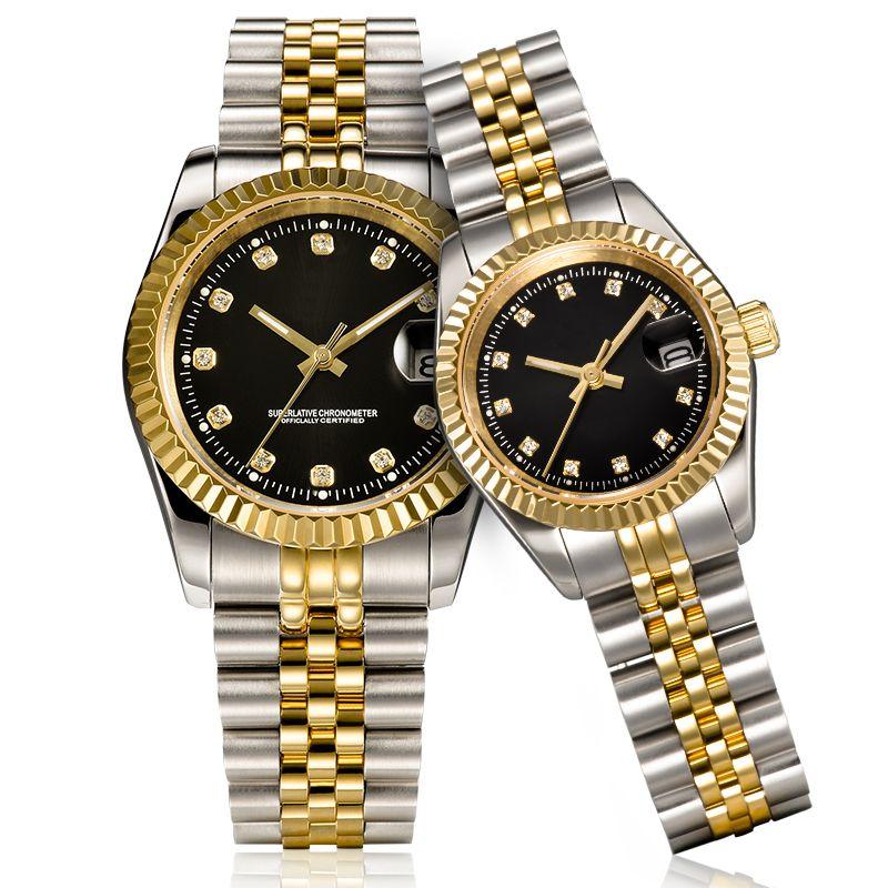 mens otomatik altın saat kadınların tam Paslanmaz çelik Safir su geçirmez ışık Çiftler Stil Klasik saatı U1 Orologiol elbise
