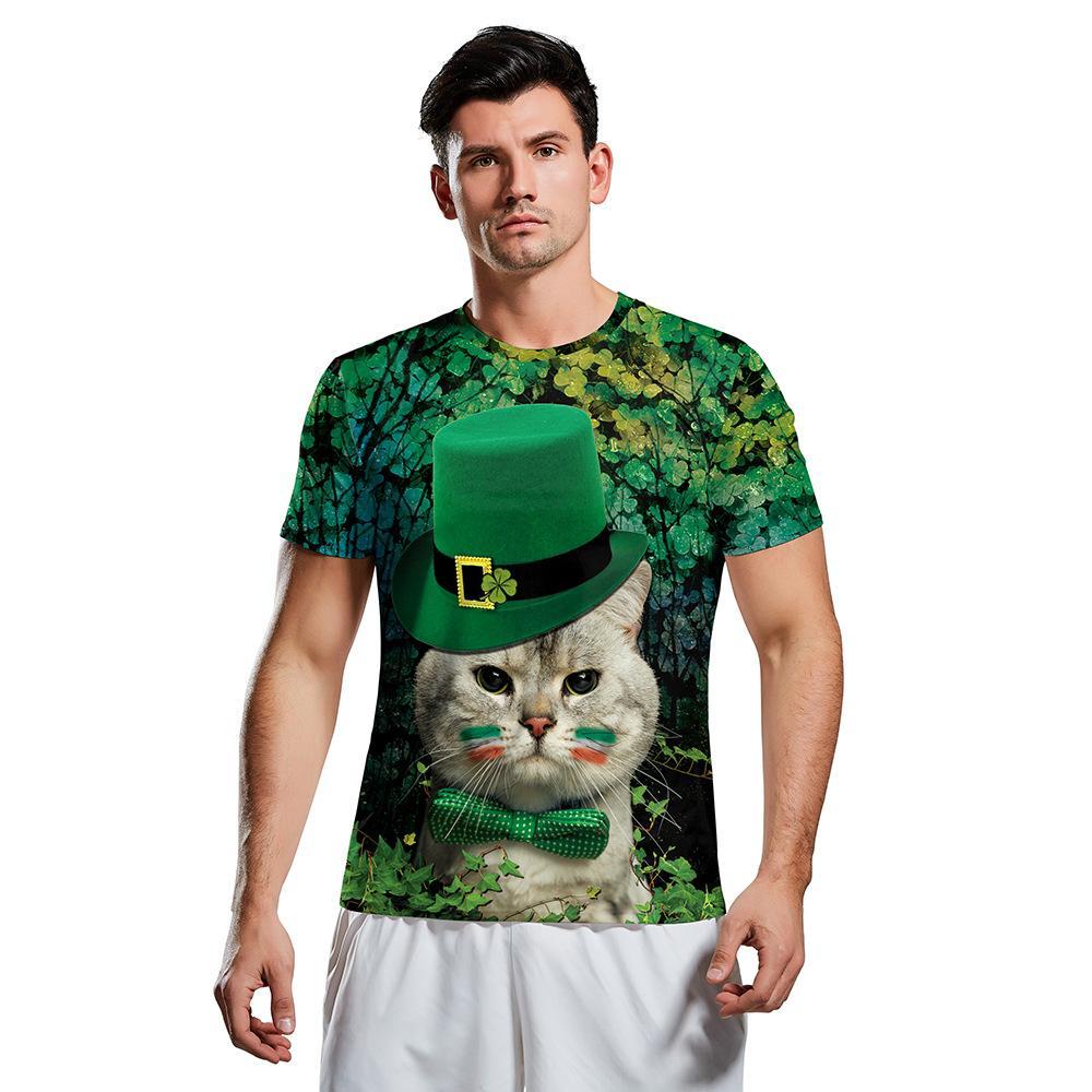 gato cavalheiro Dia novo 3D Irish do St. Patrick impressa esportes casuais T-shirt de mangas curtas com uma variedade de estilos para escolher