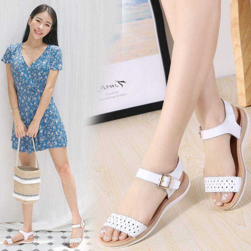 2020 sandalias de las mujeres del verano verdadero plano de cuero sandalias de recorte de la correa del tobillo sandalias de pisos