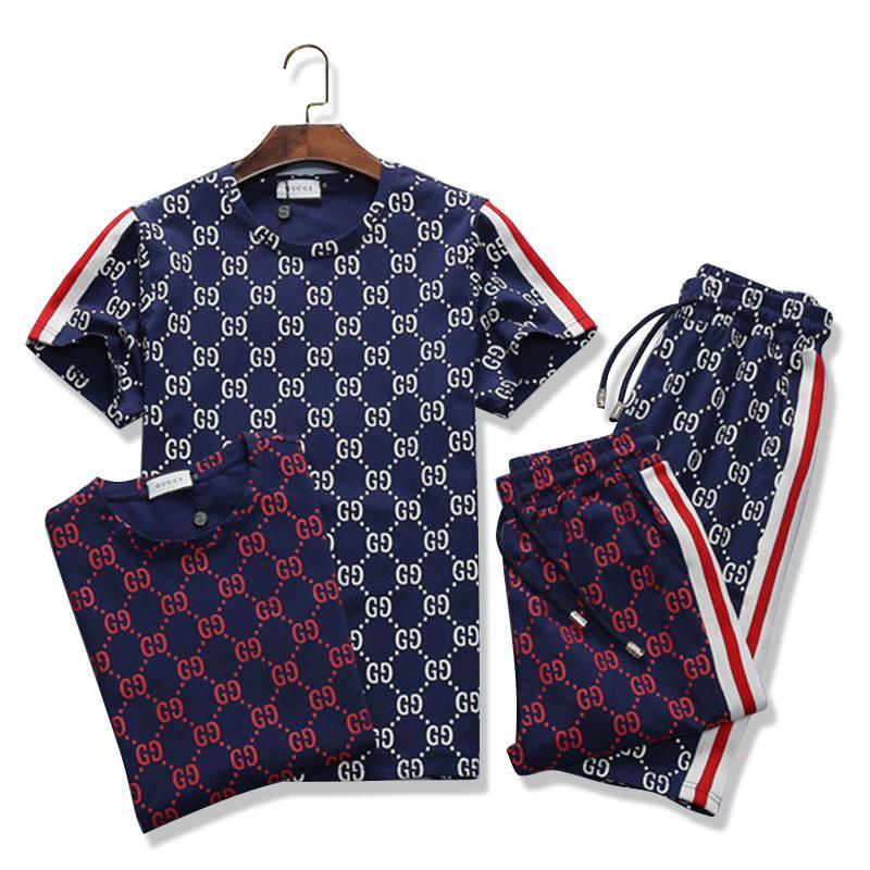 Мода Мужская одежда Комплекты с коротким рукавом печати костюмы 2 PCS Mens Casual Summer Wear Дизайнер одежды Set