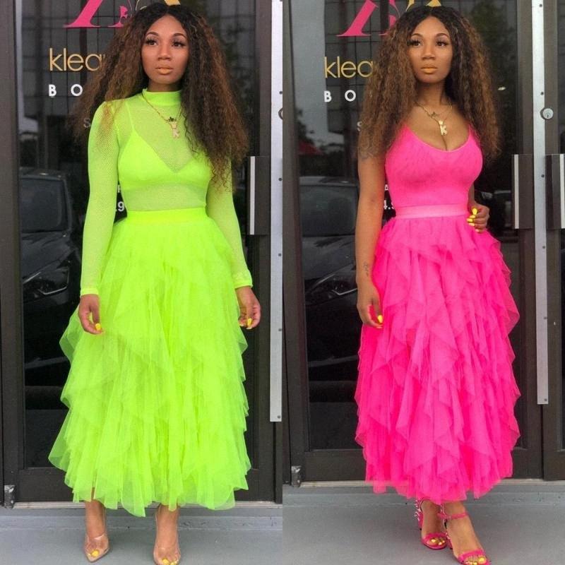 BKLD Moda tutú de tul falda larga de las mujeres de la falda maxi 2020 de primavera y verano de Corea del verde de neón de cintura alta de la onda irregular de la torta ViYq #