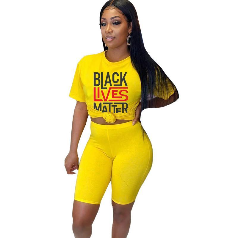 Lives Noir Matter Femmes d'été Vêtements Ensembles Mode Lettre Prtined T-shirts + Tops 2020 Vêtements Tendance Costumes 2020 Vêtements Haute Qualité