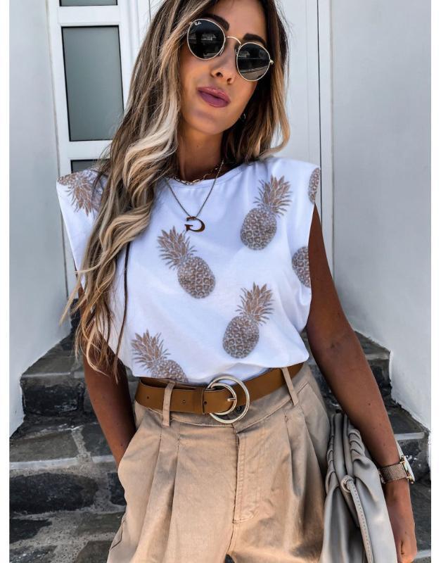 Sin mangas de las mujeres del verano del hombro almohadilla de algodón camiseta de cuello redondo ocasional de la impresión tapas de la camisa sueltos