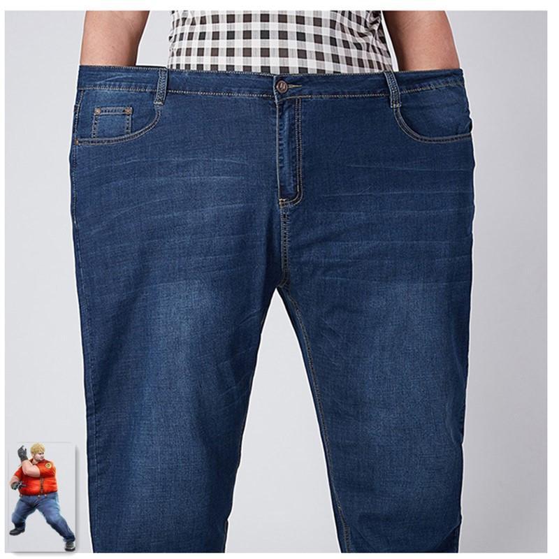 Stretch Jeans para hombre 2020 Denim Jean Homme 46 48 52 más el tamaño extra pantalones flojos grandes azul Roupas Calca Masculina Ropa Modis CX200727
