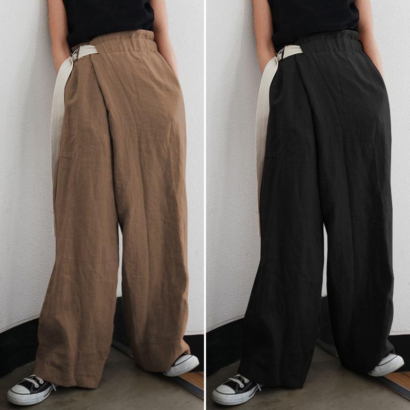 ZANZEA Moda Geniş Bacak Pantolon Kadınlar Katı Yüksek Bel Pantolon Vintage Casual Çalışma Pantalon Dantel-up Palazzo Büyük Boy 5XL Cepler