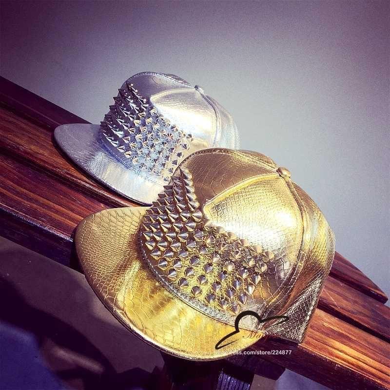 Bigbang Black leather Gold Silver Men Women Spike Studs Rivet Cap Baseball Hat Punk style Rock Hiphop jazz hat snapback cap