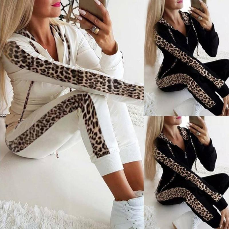 Women Casual Leopard Tracksuit Long Sleeve Hooded Sports Top Pants Two Piece Set Sweatshirt Sweatsuit Jogging Mujer Clothes