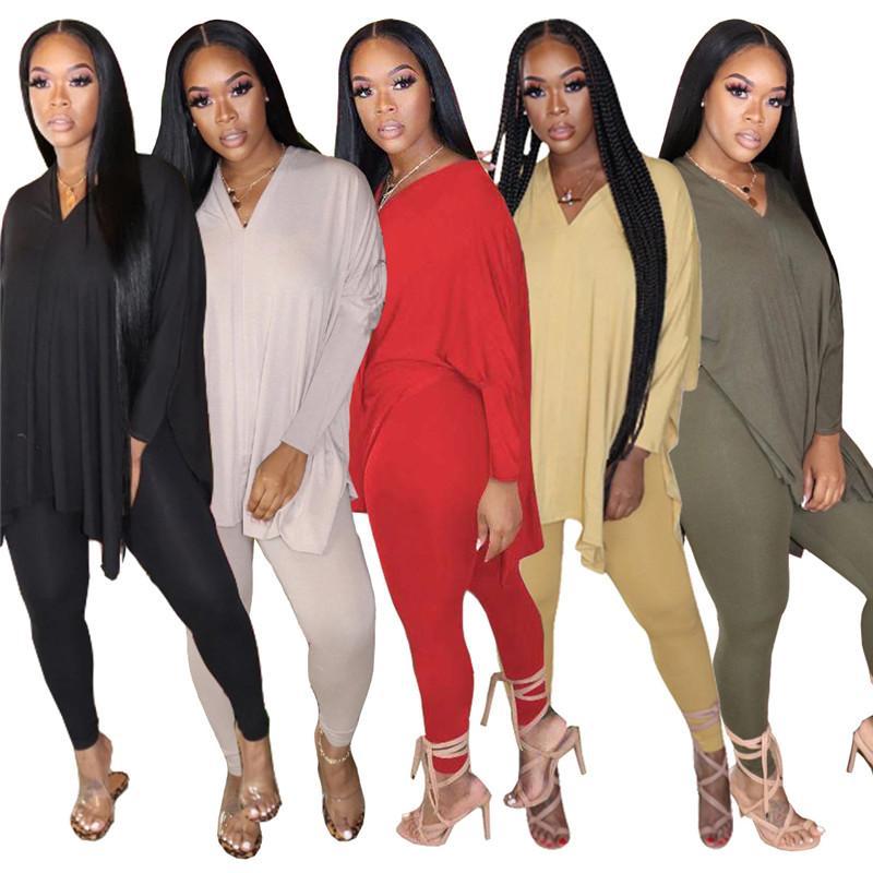 mulheres sportswear de manga comprida camisa roupas calças camisa conjunto magro duas peças collants esporte terno pullover calças klw4538 venda quente