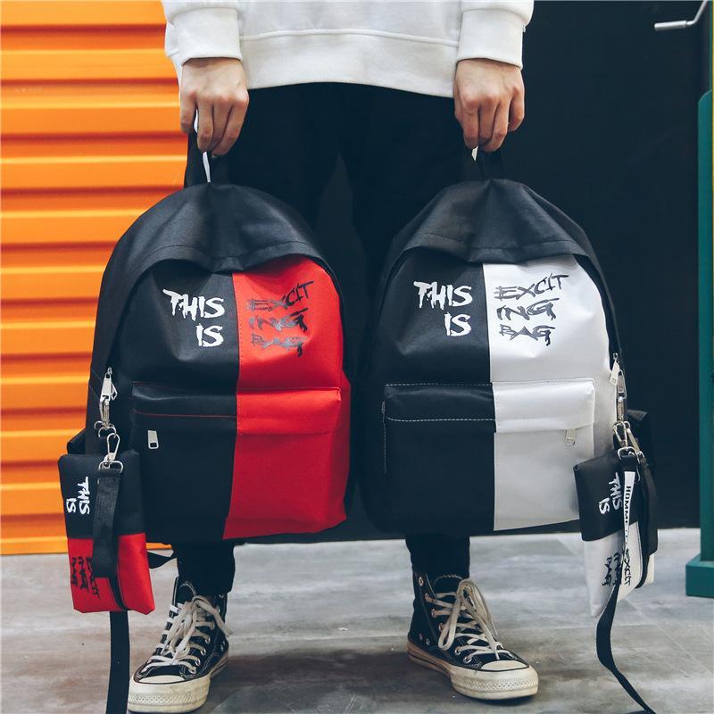 Bolsa Novo Estilo Vogue Casual Color Contrast Backpack Rua Estudante Mochila Canvas Unisex letra impressa Escola Com Lápis Bag frete grátis