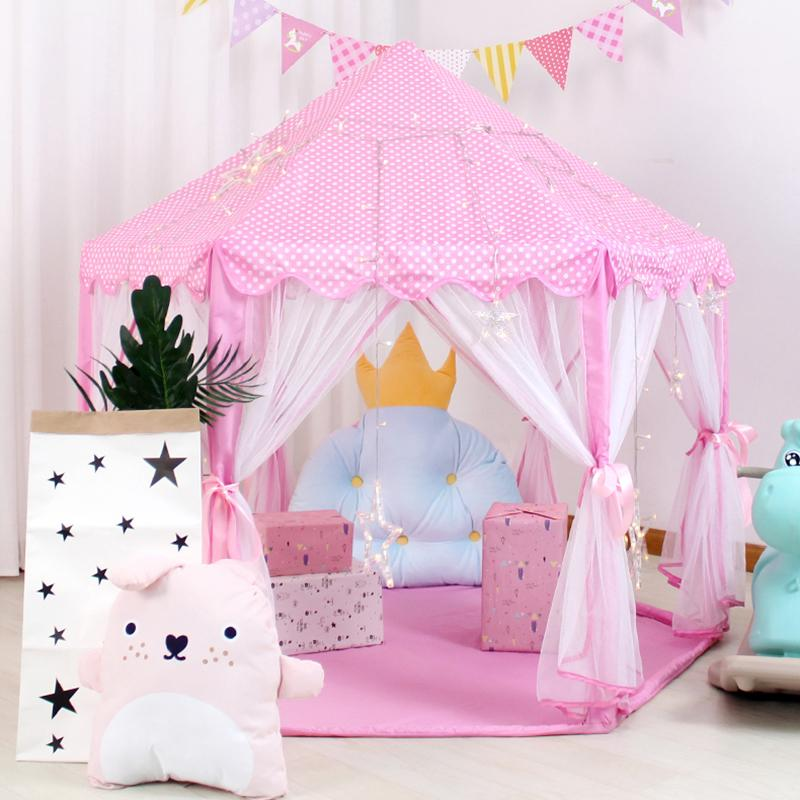 Baby toy Tent Portable Folding Prince Princess Tent Children Castle Play House Kid Gift Outdoor Beach Zipper tent Girls gifts CX200713