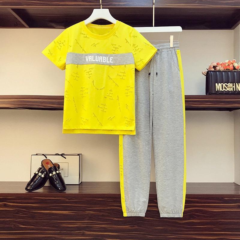 fiGET костюм больших размера женских брюки мм летняя одежда немного возраста похудения скрытия мясо двухсекционного iECWv L пу чжуана ка Жир мм одежда Weste