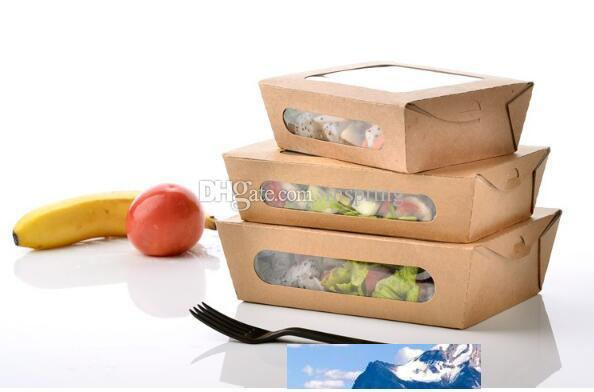 3 size Kraft Paper Salad Box Disposable Water Proof Takeaway Lunch Fruit Box Camping Supplies Dinnerware 400pcs/lot