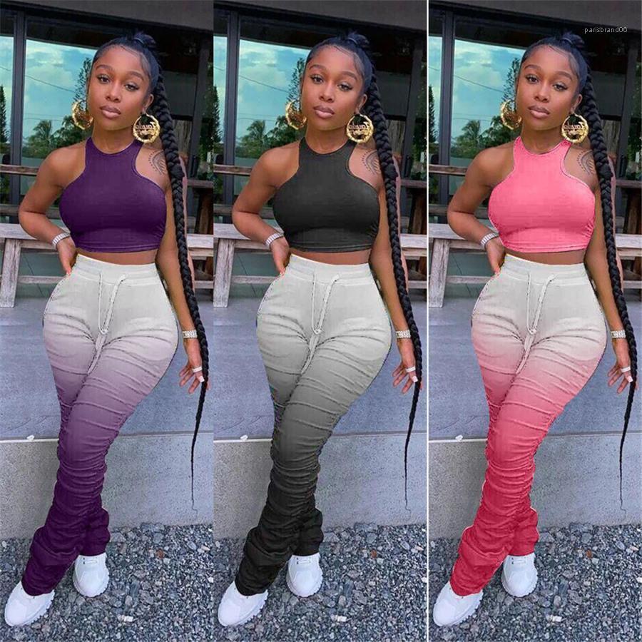 Spor Bayan Giyim Yığın Kadın İki adet eşofman Kolsuz Crop Top Uzun Kalem Pantolon Bayan 2PCS Kıyafetler Casual