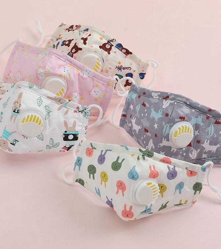 Anti polvere del fronte dei bambini mascherina del fumetto PM2.5 Bocca coperchio antipolvere bambini muffola lavabili riutilizzabili maschere valvola di sfiato KKA7977
